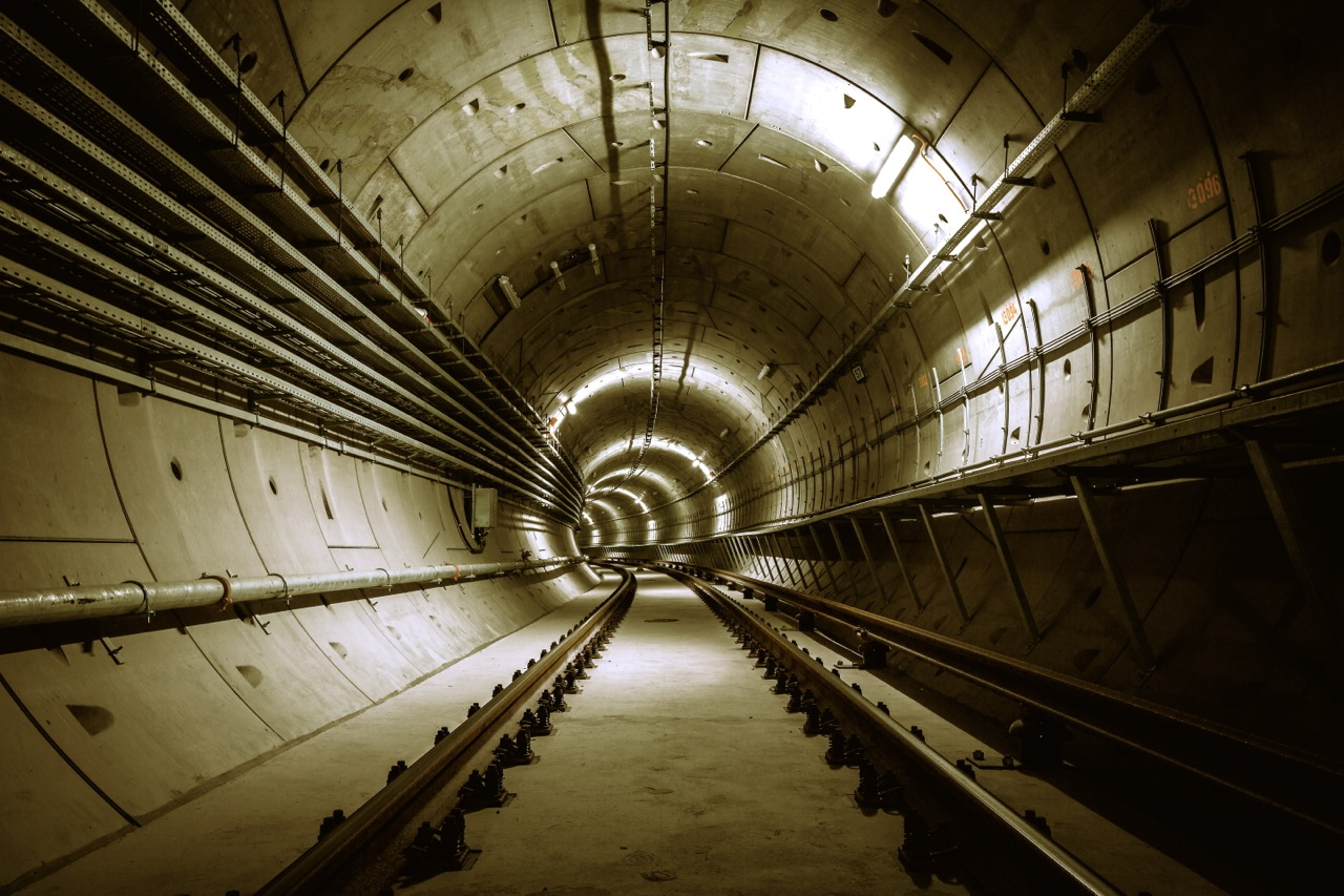 underground metro facility, a long tunnel under the earth