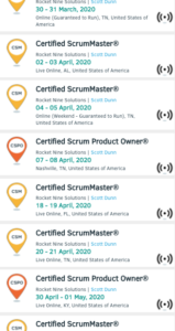 List of Scrum Alliance Virtual Classes
